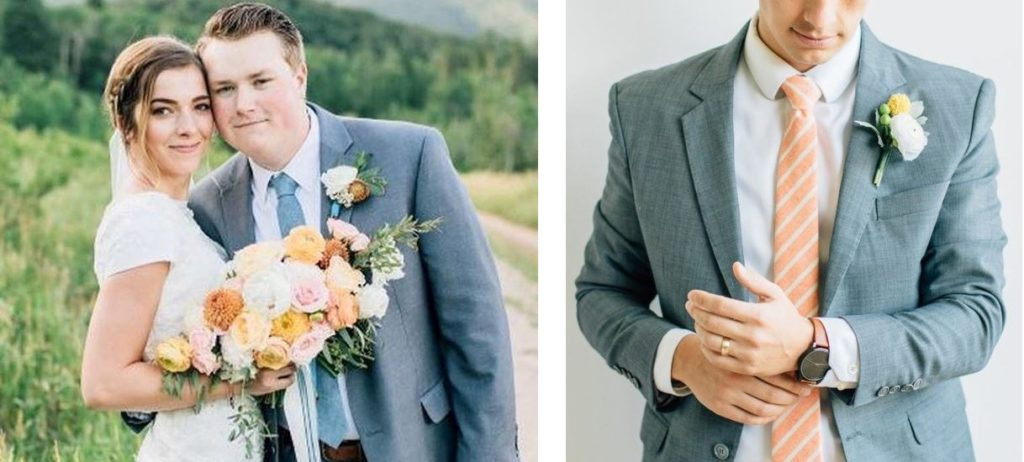 Orange-and-Light-Gray-wedding-colors-bride-and-groom-and-groom