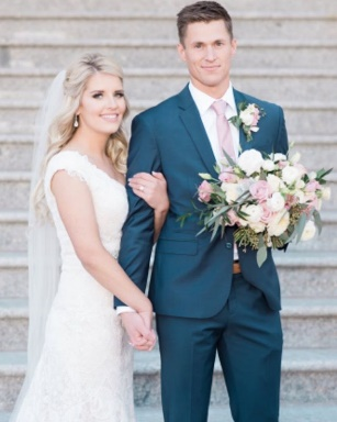 Gray-Blue-and-Pale-Pink-wedding-colors-bride-and-groom