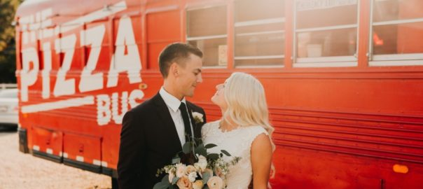 Utah Wedding Catering On Site The Pizza Bus bride and groom
